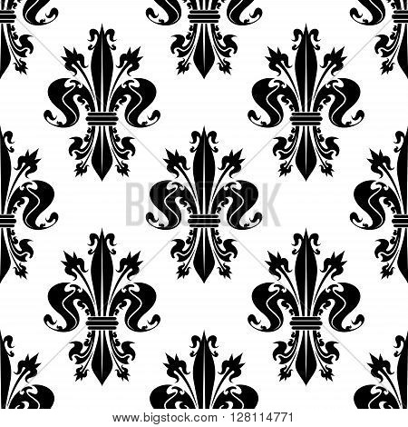 Seamless decorative black fleur-de-lis pattern over white background with curly spiky floral compositions of royal lilies. French heraldic backdrop, history, monarchy concept design