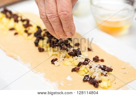 Strudel preparation : Filling the Strudel dough