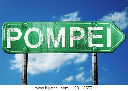 Pompei road sign, 3D rendering, vintage green with clouds backgr