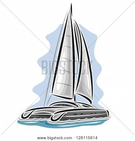 Vector logo sailing catamaran, sailboat, sailer, sloop, ship, sail boat, floating blue sea, ocean, waves. Cartoon sailing catamaran, sea summer regatta, yachting extreme sport race, sea sailing travel