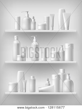 Cosmetic brand template. Vector packaging. Oil, lotion, shampoo. Realistic bottle mock up set. Isolated pack on the shelf.3d