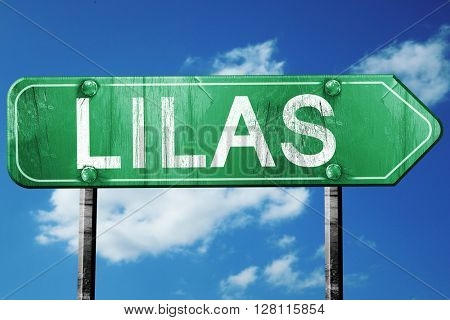 lilas road sign, 3D rendering, vintage green with clouds backgro