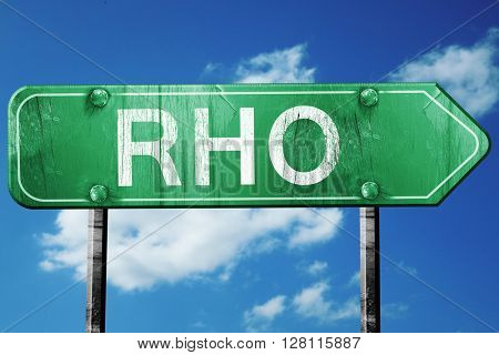 Rho road sign, 3D rendering, vintage green with clouds backgroun