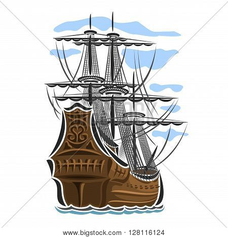 Vector logo sailing ship, sailboat, sailer, vessel, sailing, barque, craft, frigate, caravel, galleon, schooner, floating blue sea, ocean, waves. Cartoon pirate sailing old vessel