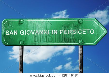 San giovanni in persiceto road sign, 3D rendering, vintage green