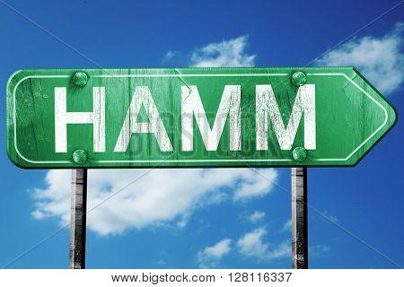 Hamm road sign, 3D rendering, vintage green with clouds backgrou