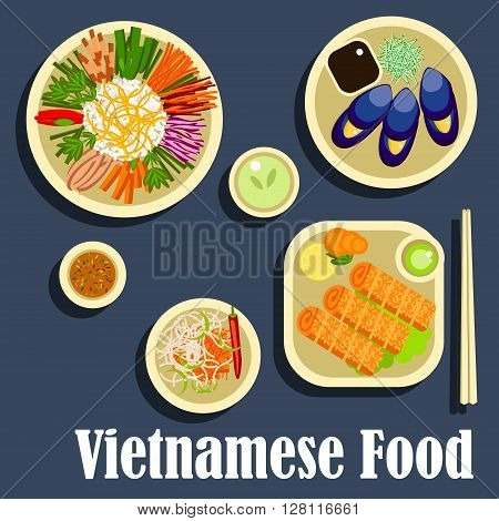Vietnamese dinner icon with traditional dishes in flat style including sticky rice with assortment of fresh vegetables, grilled blue clams with fish sauce, spicy carrot salad, fried spring rolls with green chilli dressing