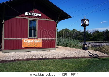 PLAINFIELD, ILLINOIS / UNITED STATES - SEPTEMBER 20, 2015: The old Plainfield Depot now serves as a museum operated by the Plainfield Historic Preservation Commission.