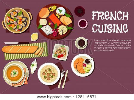 French cheese plate served with grapes and herbs icon, supplemented by baguette, tomato toasts, fig salad, onion soup with cheesy crouton, pasta, topped with truffles, croissants with cup of coffee and bottle of red wine. Flat style