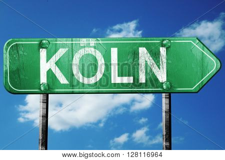 Koln road sign, 3D rendering, vintage green with clouds backgrou
