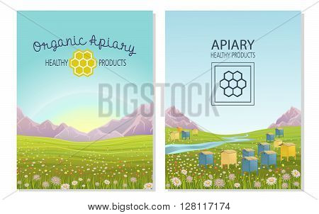 Apiary in alpine meadows in mountains. Honey Farm. Beehive set. Bee honeycomb. Rustic landscape. Fields of green grass. Production of natural organic products.