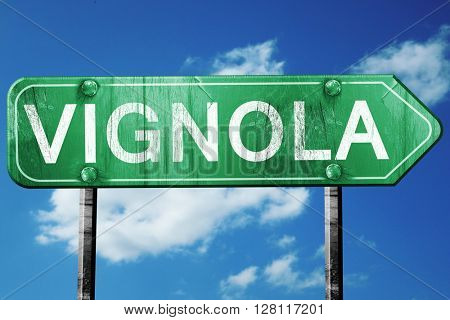 Vignola road sign, 3D rendering, vintage green with clouds backg