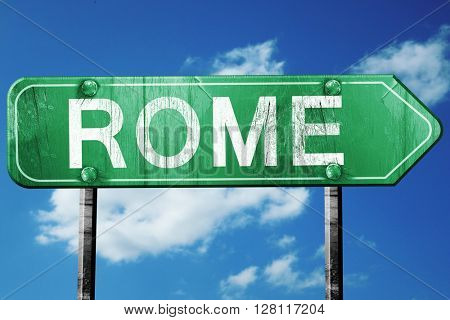 Rome road sign, 3D rendering, vintage green with clouds backgrou