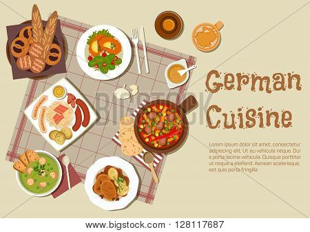 Authentic german cuisine flat icon with mixed grilled sausages platter, served with sauerkraut, pork stew, pea soup, pot roast, sandwiches with fresh vegetable salad, beer and basket of traditional bread rolls and pretzels