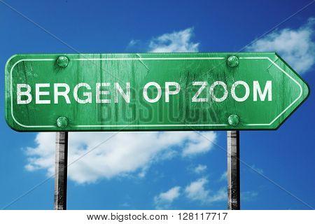 Bergen op zoom road sign, 3D rendering, vintage green with cloud