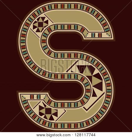 Oriental Wooden Mosaic Decorated Capital Letter S