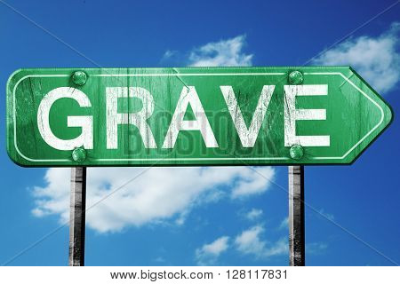 Grave road sign, 3D rendering, vintage green with clouds backgro