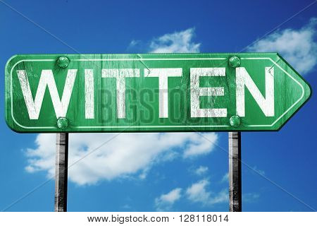Witten road sign, 3D rendering, vintage green with clouds backgr