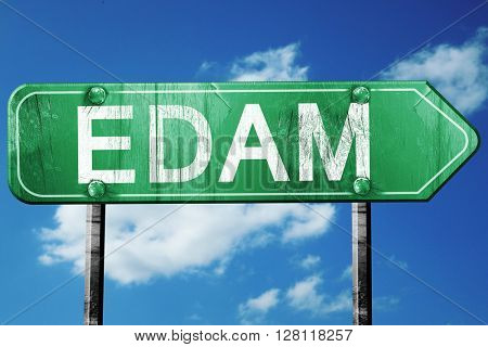 Edam road sign, 3D rendering, vintage green with clouds backgrou