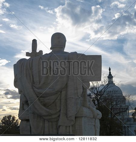 Back view of Authority of Law sculpture in front of Supreme Court building with in Washington D.C.