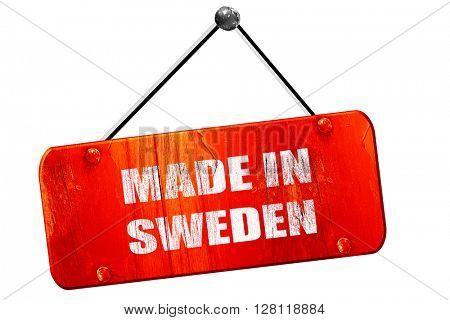 Made in sweden, 3D rendering, vintage old red sign