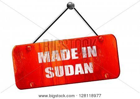 Made in sudan, 3D rendering, vintage old red sign