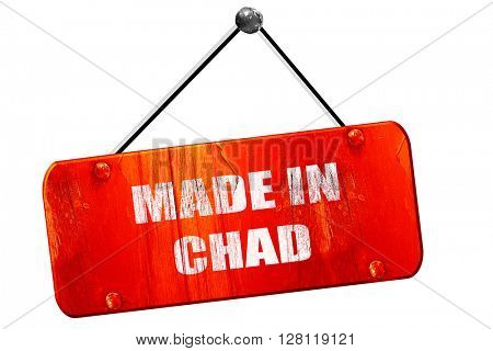 Made in chad, 3D rendering, vintage old red sign