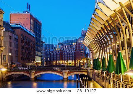 Architecutre of Hamburg at night. Hamburg Germany.