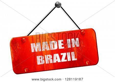 Made in brazil, 3D rendering, vintage old red sign