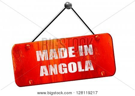 Made in angola, 3D rendering, vintage old red sign