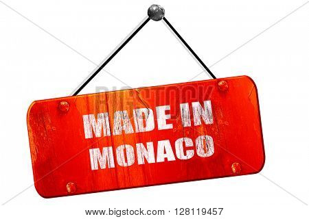 Made in monaco, 3D rendering, vintage old red sign