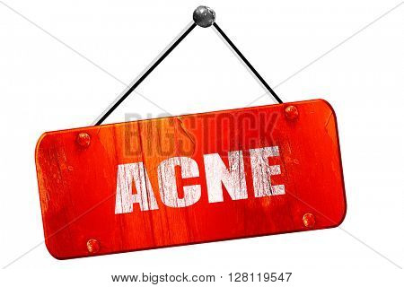 acne, 3D rendering, vintage old red sign