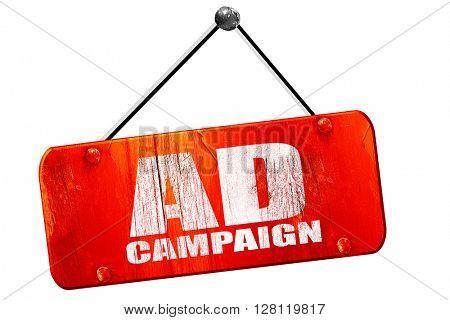 Ad campaing, 3D rendering, vintage old red sign