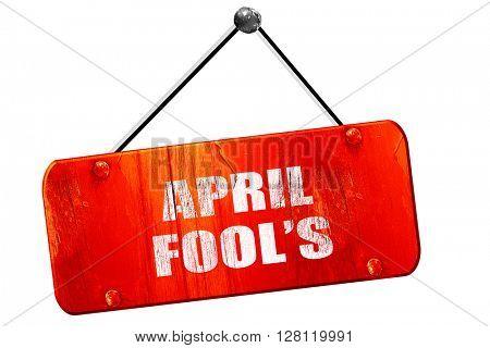 april fool's, 3D rendering, vintage old red sign
