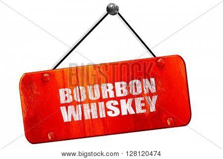 bourbon whiskey, 3D rendering, vintage old red sign