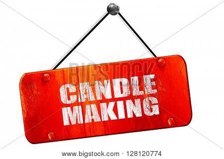 candle making, 3D rendering, vintage old red sign