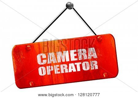 camera operator, 3D rendering, vintage old red sign