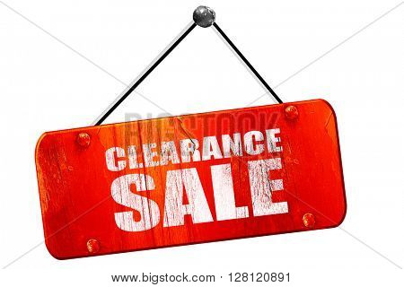 clearance sale, 3D rendering, vintage old red sign