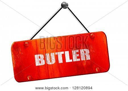 butler, 3D rendering, vintage old red sign