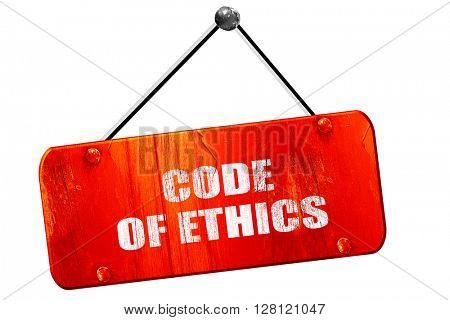 code of ethics, 3D rendering, vintage old red sign