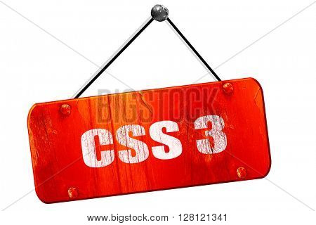 css 3, 3D rendering, vintage old red sign