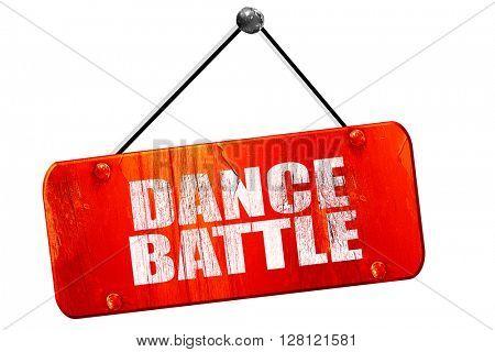 dance battle, 3D rendering, vintage old red sign