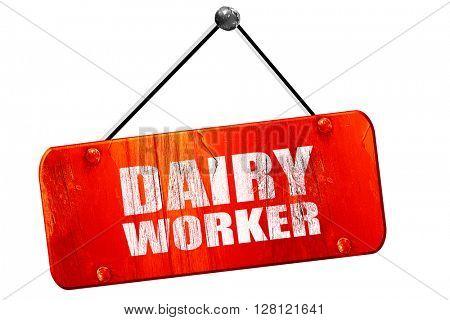 dairy worker, 3D rendering, vintage old red sign