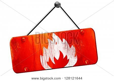 Flammable hazard sign, 3D rendering, vintage old red sign