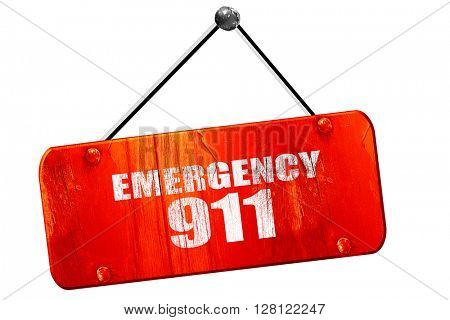 emergency 911, 3D rendering, vintage old red sign
