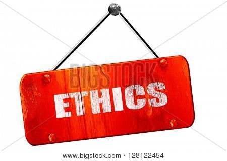ethics, 3D rendering, vintage old red sign