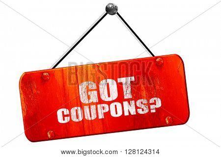 got coupons?, 3D rendering, vintage old red sign