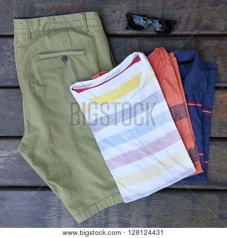 Male summer fashion set - top view
