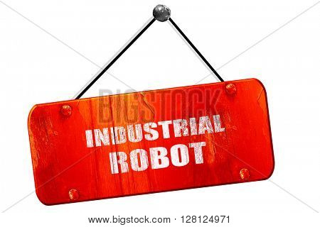 industrial robot, 3D rendering, vintage old red sign