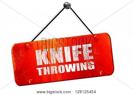 knife throwing, 3D rendering, vintage old red sign
